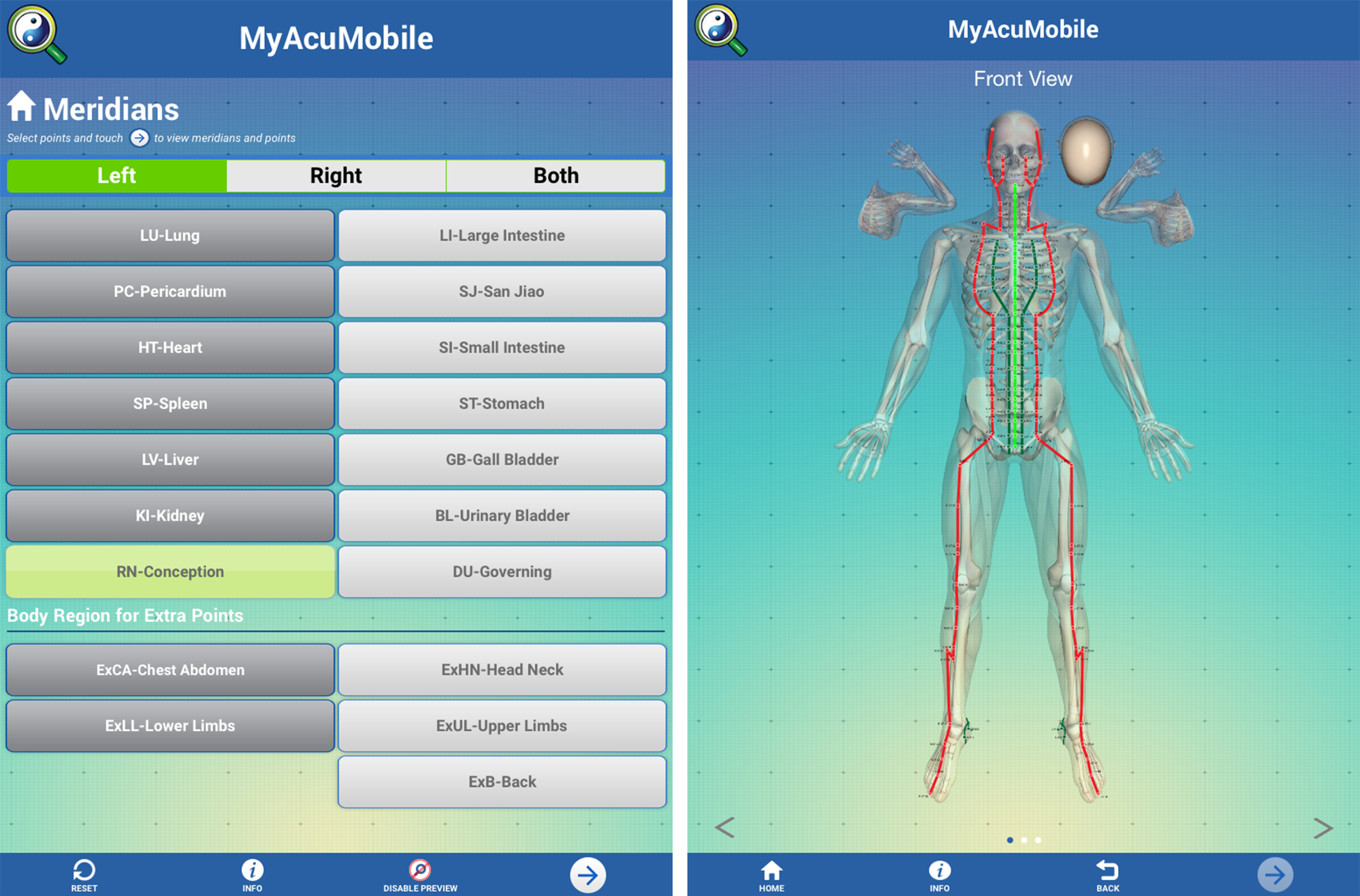 Acupuncture Treatment App Views