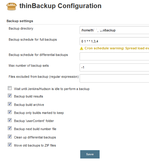 thinBackup Configuration